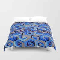 60s Duvet Covers featuring Back in the 60s deep blue by MehrFarbeimLeben