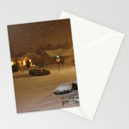 Coastal Winter Snow Storm Stationery Cards