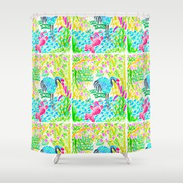 Asian Bamboo Garden in Sunset Watercolor Shower Curtain