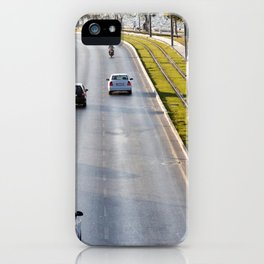 Cars and tram at seaside in Izmir (Turkey) iPhone Case