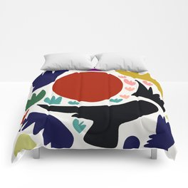 Birds in the sun minimal art abstract pattern decorative Comforters