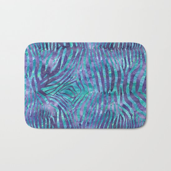 Blue Zebra Print Bath Mat