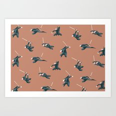 Point Nose Ninja pattern vintage peach Art Print