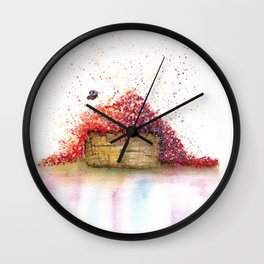 A Basket of Flowers Watercolor Wall Clock
