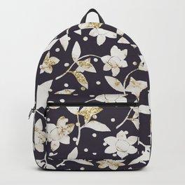 Dark purple ivory gold glitter marble polka dots floral Backpack