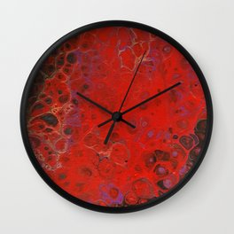 Acrylic Pour - Red Black Purple Gold Wall Clock