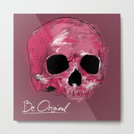 Painted neon skull Metal Print