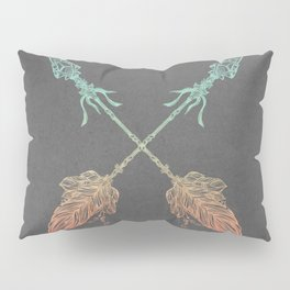 Tribal Arrows Turquoise Coral Gradient on Gray Pillow Sham