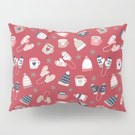 Warm Drinks And Winter Knit Wear Red Pillow Sham