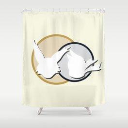 Poko & Yuki - White Silhouette  Shower Curtain