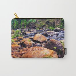 river in the forest with green tree and rock and stone Carry-All Pouch