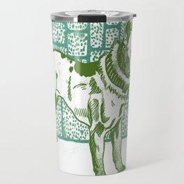 Pitbull Terrier - green and blue Travel Mug