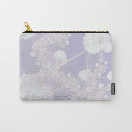 Abstract White Roses and Light Violet Purple Carry-All Pouch