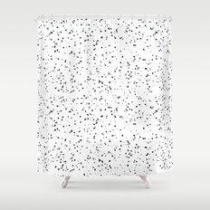 Speckles I: Black on White Shower Curtain