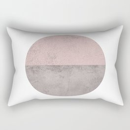 DARK BLUSH GRAY CONCRETE CIRCLE Rectangular Pillow