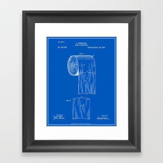 Toilet Paper Roll Patent Blueprint Framed Art Print By