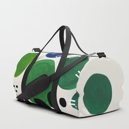 Fun Abstract Minimalist Mid Century Modern Colorful Shapes Lime Green Blue Watercolor Bubbles Duffle Bag