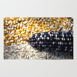 White, yellow and blue corn Rug