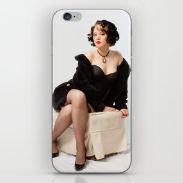 """""""Fur Coat #1"""" - The Playful Pinup - Sexy Vintage Pinup in Fur Coat by Maxwell H. Johnson iPhone Skin"""