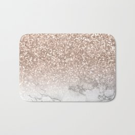She Sparkles - Rose Gold Glitter Marble Bath Mat