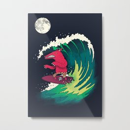 Moonlight Surfer Metal Print