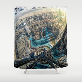 On top of the world, Burj Khalifa, Dubai, UAE Shower Curtain