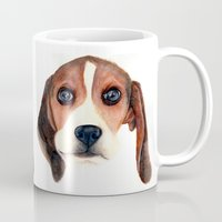beagle Mugs featuring Beagle by Carmen Lai Graphics