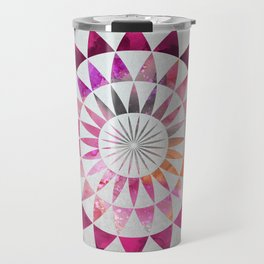 Mandala Pattern in warm shades of orange and pink Travel Mug