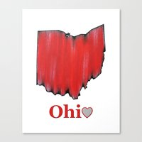 ohio state Canvas Prints featuring Ohio State Love by Fischer Fine Arts