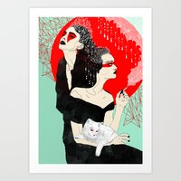 Two ladies and a cat Art Print