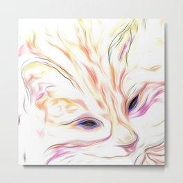 Pink & Coral Cat Metal Print