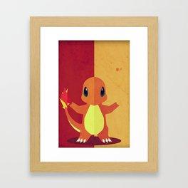 Charmandr Poke Minimalistic Framed Art Print