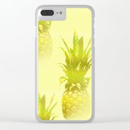 Pineapples Yellow Background #decor #society6 Clear iPhone Case