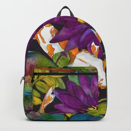 Purple Lily and Koi Backpack
