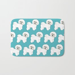 Bichon Frise Dog on blue Bath Mat