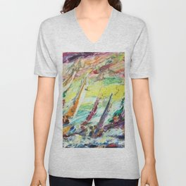 Italian American Masterpiece 'Sirena Boats' Sailing Yachts by Alfred Crimi Unisex V-Neck