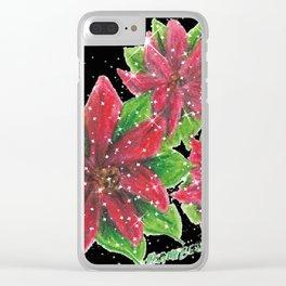 """Merry Poinsettias"" Clear iPhone Case"