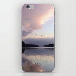 Uplifting III: Geese Rise at Dawn on Lake George iPhone Skin