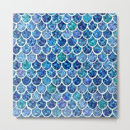 Sparkly Turquoise & Blue Glitter Mermaid Scales Metal Print