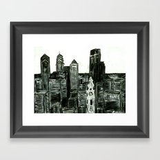 Black and White Philly Skyline Framed Art Print