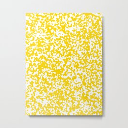 Small Spots - White and Gold Yellow Metal Print
