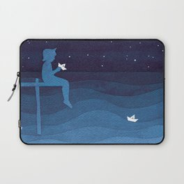 Boy with paper boats, blue Laptop Sleeve