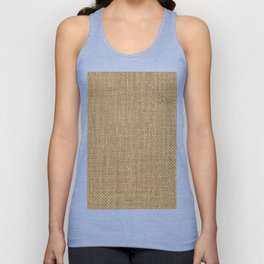 Natural Woven Beige Burlap Sack Cloth Unisex Tank Top