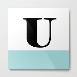 Monogram Letter U-Pantone-Limpet Shell Metal Print