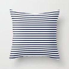 Indigo Navy Blue Nautical Stripes Throw Pillow