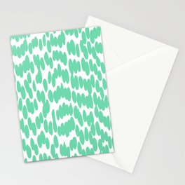Abstract Tropical Summer Dot Pattern, Green and White Stationery Cards