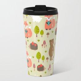 Hand drawn modern coral white green autumn animal Travel Mug