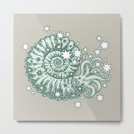 The Starry Ammonite || Aquamarine Palette || Cosmic Prehistoric Life Metal Print