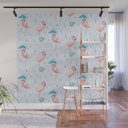 Rainy Flamingos Wall Mural