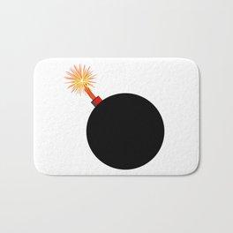 Old Black Cartoon style Bomb With Lit Fuse Bath Mat